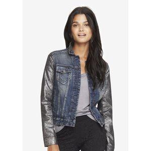 Express Metallic Sleeve Denim Jacket